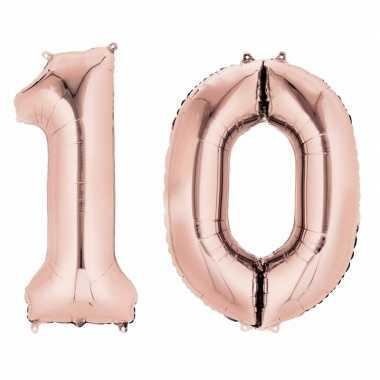 10 jaar versiering cijfer ballon rose goud