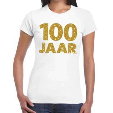 100 jaar goud glitter verjaardag/jubileum kado shirt wit dames