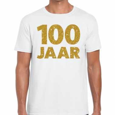 100 jaar goud glitter verjaardag/jubileum kado shirt wit heren
