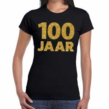 100 jaar goud glitter verjaardag/jubileum kado shirt zwart dames