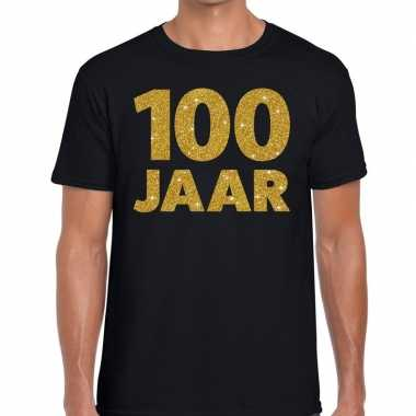 100 jaar goud glitter verjaardag/jubileum kado shirt zwart heren