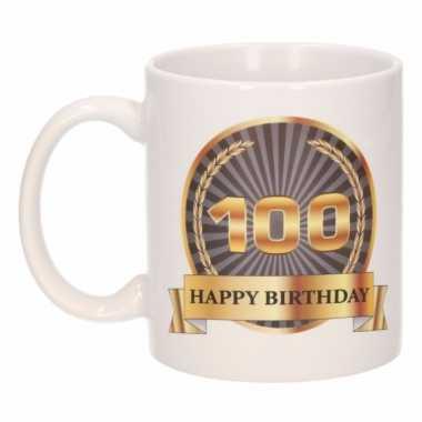 100e verjaardag cadeau beker / mok 300 ml