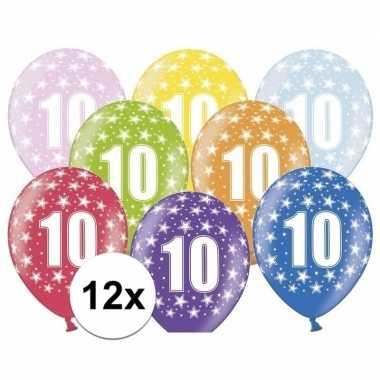 10e verjaardag ballonnen met sterretjes 12x