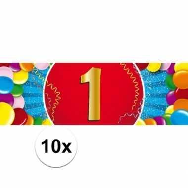 10x 1 jaar leeftijd stickers 19 x 6 cm verjaardag versiering