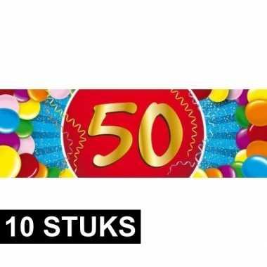10x 50 jaar sticker verjaardag/jubileum feest stickers