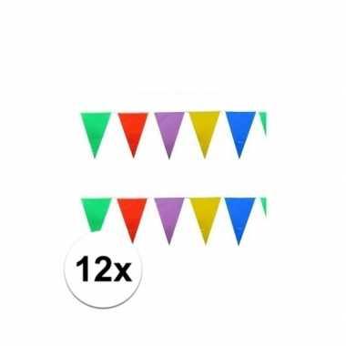 12x stuks feest vlaggenlijnen 10 meter