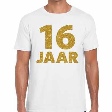 16 jaar goud glitter verjaardag kado shirt wit heren