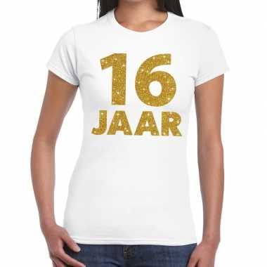 16 jaar goud glitter verjaardag kado shirt wit voor dames