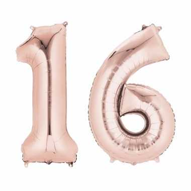 16 jaar versiering cijfer ballon rose goud