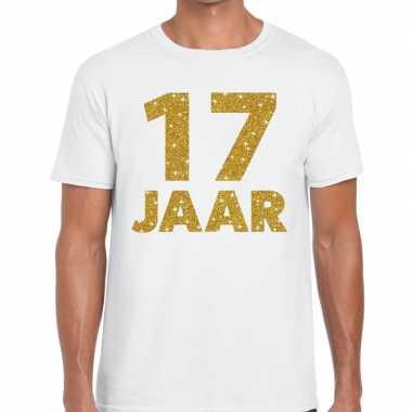 17 jaar goud glitter verjaardag kado shirt wit heren