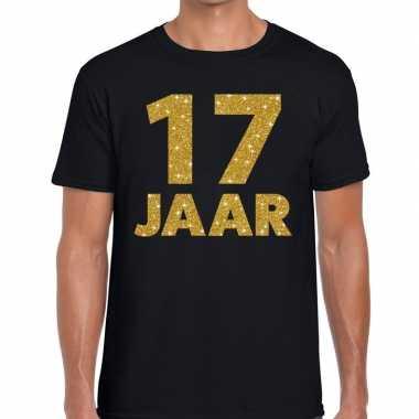 17 jaar goud glitter verjaardag kado shirt zwart heren