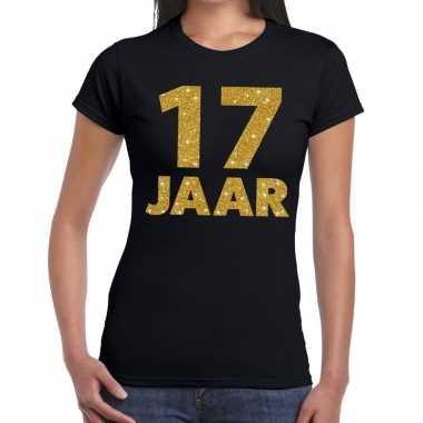 17 jaar goud glitter verjaardag kado shirt zwart voor dames