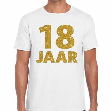 18 jaar goud glitter verjaardag kado shirt wit heren