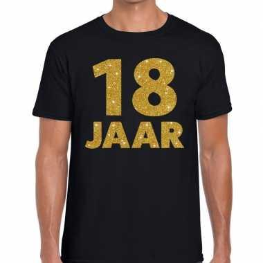 18 jaar gouden glitter tekst t-shirt zwart heren