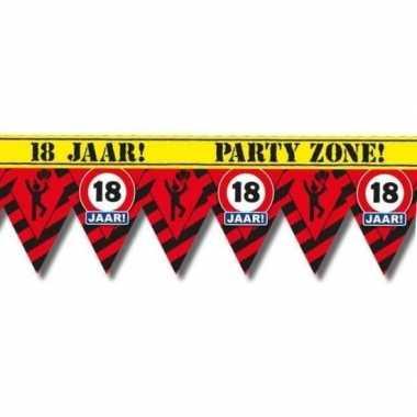 18 jaar party tape/markeerlint waarschuwing 12 m versiering
