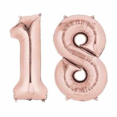 18 jaar versiering cijfer ballon rose goud