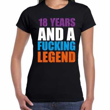 18 year legend / 18 jaar legende cadeau t-shirt zwart dames