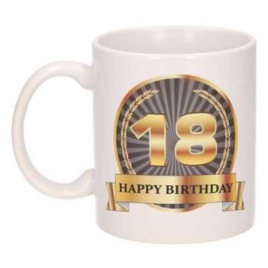 18e verjaardag cadeau beker / mok 300 ml