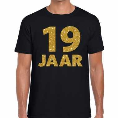 19 jaar goud glitter verjaardag kado shirt zwart heren