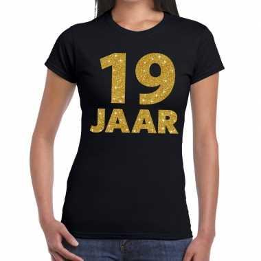 19 jaar goud glitter verjaardag kado shirt zwart voor dames