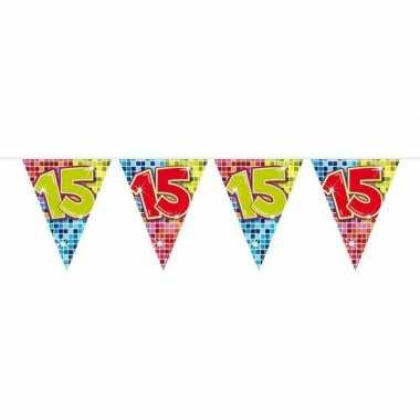 1x mini vlaggenlijn / slinger verjaardag versiering 15 jaar