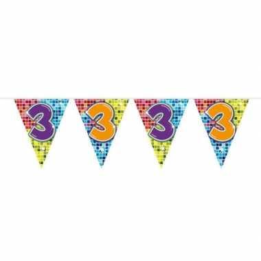 1x mini vlaggenlijn / slinger verjaardag versiering 3 jaar