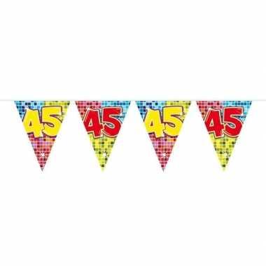 1x mini vlaggenlijn / slinger verjaardag versiering 45 jaar