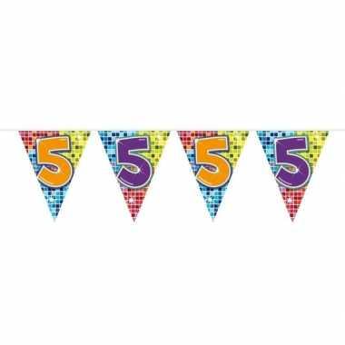 1x mini vlaggenlijn / slinger verjaardag versiering 5 jaar