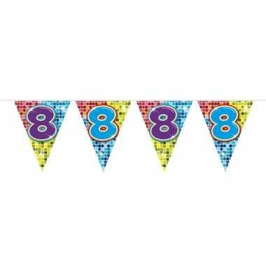 1x mini vlaggenlijn / slinger verjaardag versiering 8 jaar