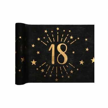 1x zwarte tafellopers 18 jaar verjaardag 500 cm op rol feestversiering