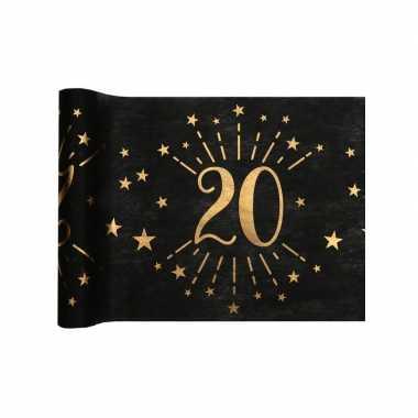 1x zwarte tafellopers 20 jaar verjaardag 500 cm op rol feestversiering
