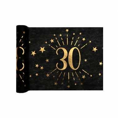 1x zwarte tafellopers 30 jaar verjaardag 500 cm op rol feestversiering