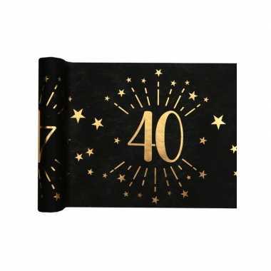 1x zwarte tafellopers 40 jaar verjaardag 500 cm op rol feestversiering