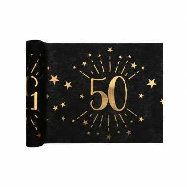 1x zwarte tafellopers 50 jaar verjaardag 500 cm op rol feestversiering
