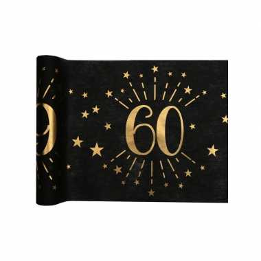 1x zwarte tafellopers 60 jaar verjaardag 500 cm op rol feestversiering