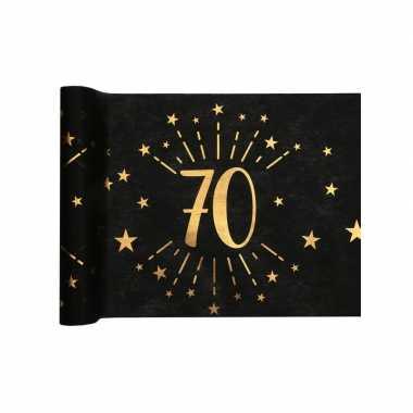 1x zwarte tafellopers 70 jaar verjaardag 500 cm op rol feestversiering