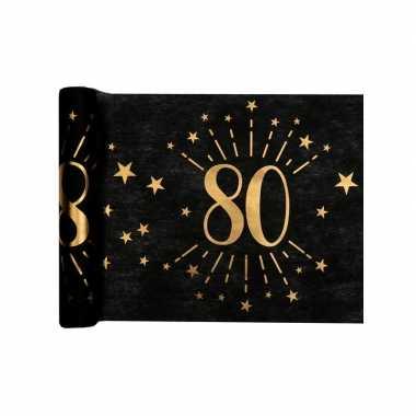 1x zwarte tafellopers 80 jaar verjaardag 500 cm op rol feestversiering