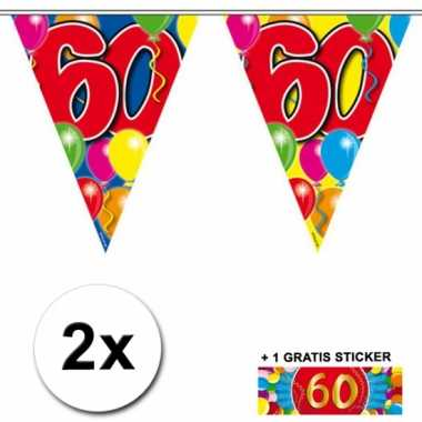 2 gekleurde vlaggenlijnen 60 jaar met sticker