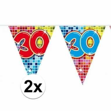 2 mini vlaggenlijn / slinger verjaardag versiering 30 jaar