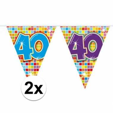 2 mini vlaggenlijn / slinger verjaardag versiering 40 jaar