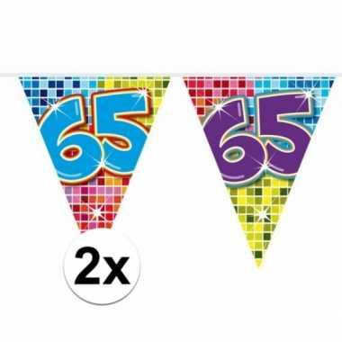 2 Mini Vlaggenlijn Slinger Verjaardag Versiering 65 Jaar