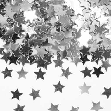 2 x stuks zilveren sterren confetti zakje 14 gram