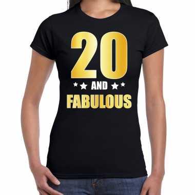 20 and fabulous verjaardag cadeau t-shirt / shirt goud 20 jaar zwart voor dames