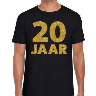 20 jaar goud glitter verjaardag/jubilieum kado shirt zwart heren