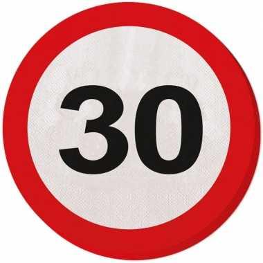 20x 30 jaar leeftijd themafeest servetten verkeersbord 33 cm ron