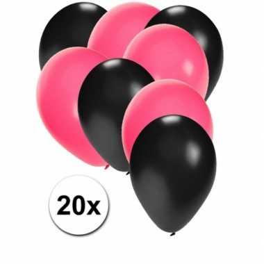 20x ballonnen sweet 16 zwart en roze