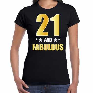 21 and fabulous verjaardag cadeau t-shirt / shirt goud 21 jaar zwart voor dames