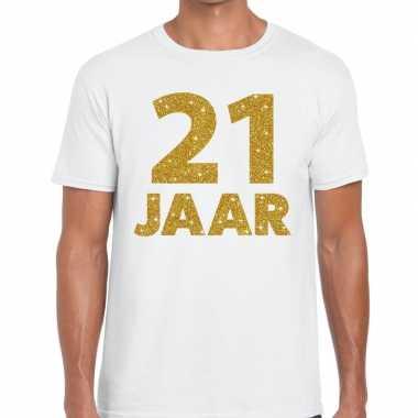 21 jaar goud glitter verjaardag kado shirt wit heren