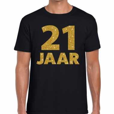 21 jaar goud glitter verjaardag kado shirt zwart heren