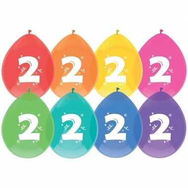 24x ballonnen 2 jaar verjaardag/leeftijd versiering